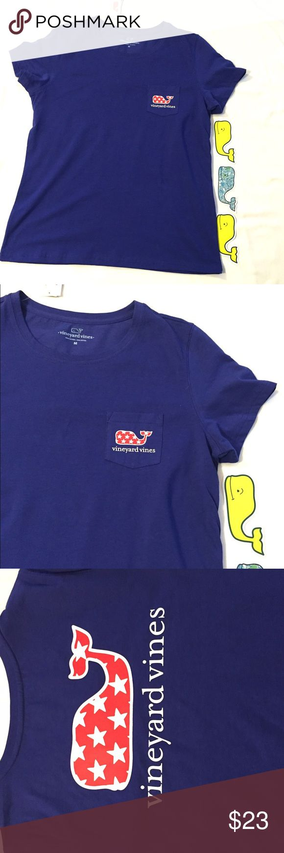 🆕 listing! Vineyard Vines Stars and Whale T shirt Summery Vineyard Vines short sleeve t shirt in Ocean Reef. This Amis a women's cut.  Size M.  Front pocked with a whale on the back.  This shirt is from the outlet store. Vineyard Vines Tops Tees - Short Sleeve