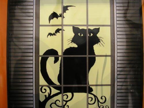 M s de 1000 ideas sobre siluetas para ventana de halloween El gato negro decoracion