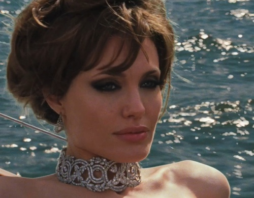 Angelina Jolie in The Tourist - love her hair, necklace & all the glam