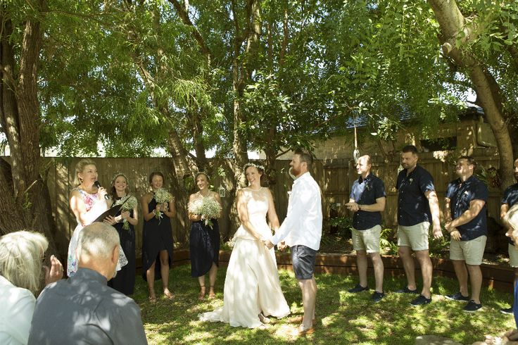 Charming garden wedding ceremony at home