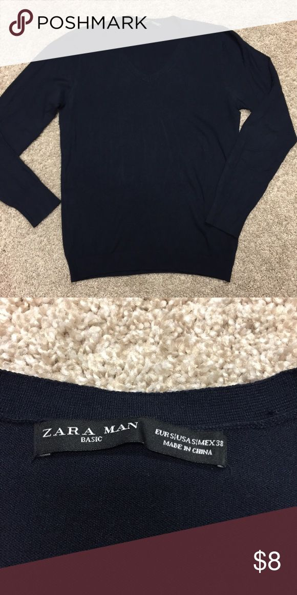 Zara Man light weight navy v-neck sweater Purchased in London. Good condition. Smoke free home. Bundle and save! Zara Sweaters V-Neck