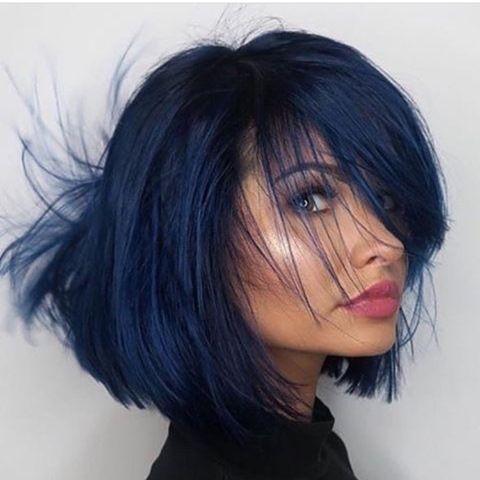 Blau Haarfarben Bob Frisuren Haar Ideen Blauschwarze Haare Ve