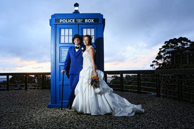 Dr. Who theme wedding. Nat & Ant travelled in time. On top of Mt Dandenong. Complete with me as Dr Who and a magnificent Tardis. Far out!