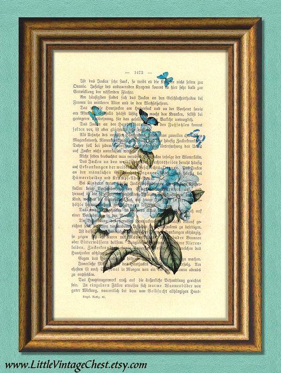 RHAPSODY IN BLUE  Flowers & Butterflies  by littlevintagechest, $7.99