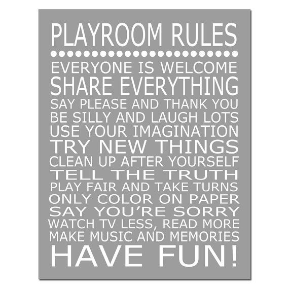 Modern Classroom Rules ~ Playroom rules quote print modern nursery
