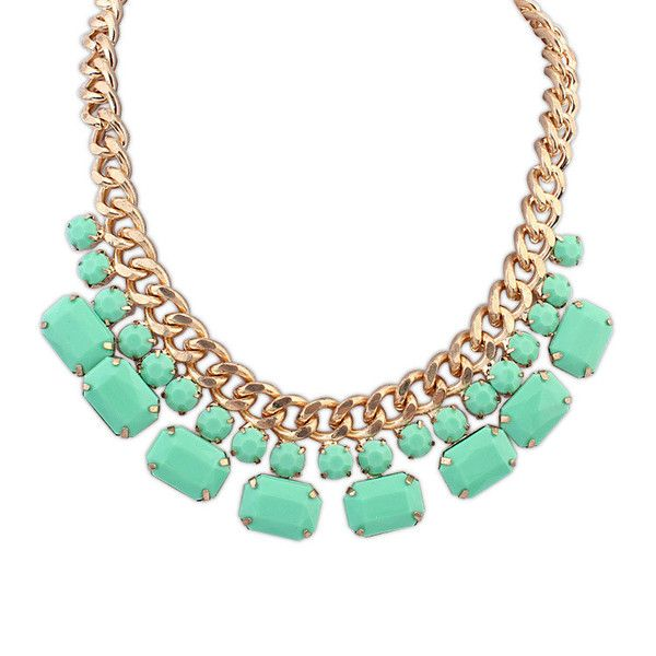 Gabrielle Alluring Necklace £8.00  Make a statement with this gorgeous chain. Not only is the chain itself pretty impressive with its solid frame, the large stones decorating it are certainly bringing their own charm. The green stones of the necklace look particularly attractive against the gold chain, a pretty evening necklace but perfectly suitable for everyday diva usage.