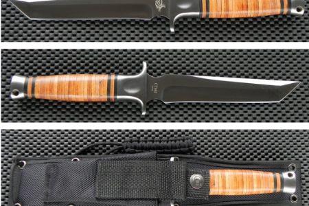 Couteau Colt Tanto Tactical Lame acier 420 Manche Cuir Etui Nylon CT462 - Couteaux Tactiques et de Combats (1338792)