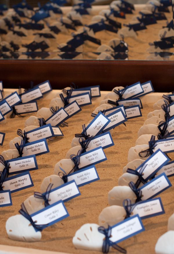 Beachy escort cards {Judith Sargent Photography, Inc}