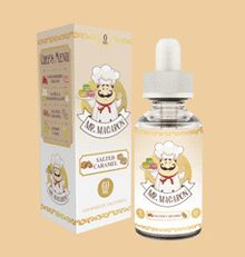 Salted Caramel E Liquid by Mr Macaron E Liquids Is a world-class caramel flavor with hints of espresso & steamed milk, topped off with a dash of sea salt and smooth caramel drizzle. Salted Caramel E Liquid is a PG/VG 70/30 and comes in Nicotine levels of 0mg, 3mg, and 6mg. Mr. Macaron Salted Caramel E Liquid is made in the USA. Try some Mr. Macaron Salted Caramel E Liquid today.  #SaltedCaramelEliquid #MrMacaron #MrMacaronEliquid
