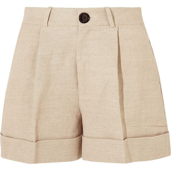 Totême Tanzania linen and cotton-blend shorts ($305) ❤ liked on Polyvore featuring shorts, mid rise shorts, beige shorts, linen shorts, cuffed shorts and fold over shorts