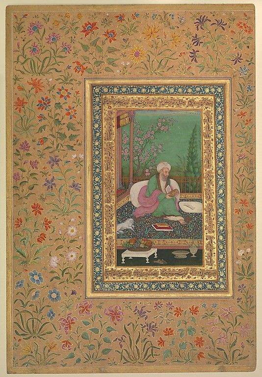 """Haji Husain Bukhari"", Folio from the Shah Jahan Album Object Name: Album leaf Date: recto: early 19th century; verso: later copy of 16th century original Geography: India Culture: Islamic Medium: Ink, opaque watercolor, and gold on paper Dimensions: H. 15 1/4 in. (38.7 cm) W. 10 5/16 in. (26.2 cm) Classification: Codices Credit Line: Purchase, Rogers Fund and The Kevorkian Foundation Gift, 1955 Accession Number: 55.121.10.28"