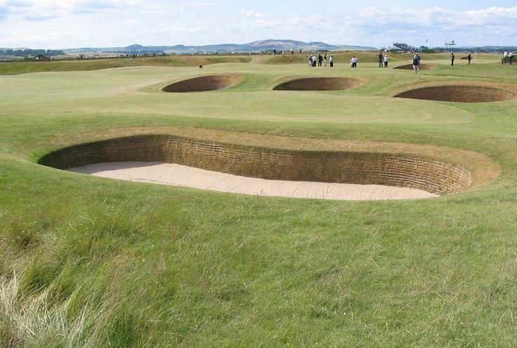 Golf course St. Andrews, Scotland. Golfbaan in Schotland.