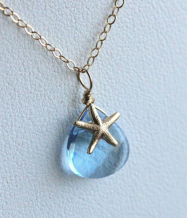 Swarovski Crystal Starfish Necklace, Sky Blue, Aqua, Baby Blue, Beach Wedding Jewelry, Bridesmaid Necklace, 14k gold fill, Bridal Necklace. $32.50, via Etsy.