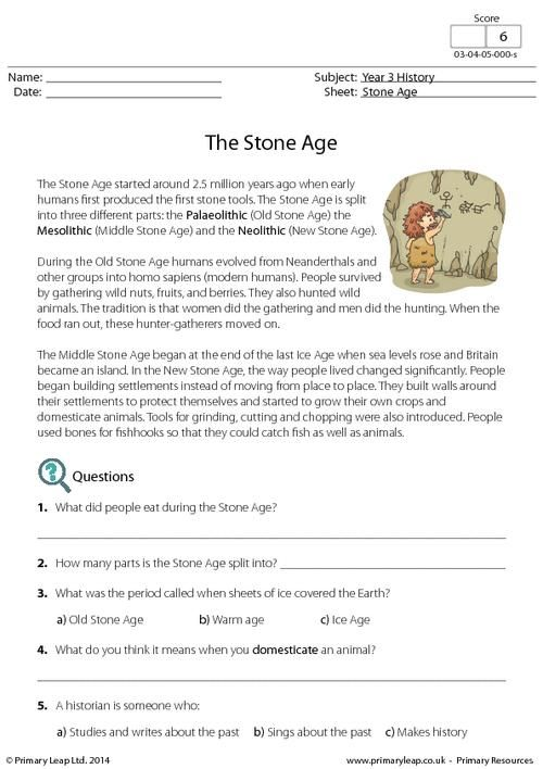 PrimaryLeap.co.uk - Reading comprehension - The Stone Age Worksheet