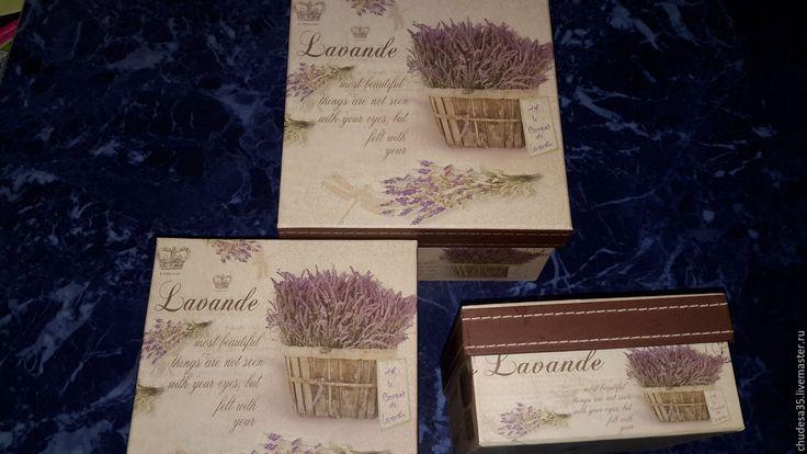 Купить Подарочные коробки Лаванда - комбинированный, картон, картонная коробка, набор тканей, материалы для творчества