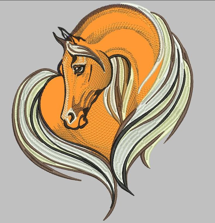 Horse heart free embroidery design. Machine embroidery design. www.embroideres.com