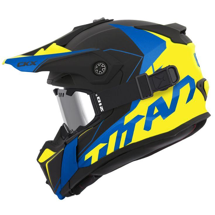 CKX - Off-road winter helmets - TITAN Cliff Yellow/Blue Mat - kimpexnews.com