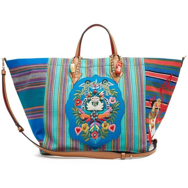 Christian Louboutin Mexicaba crest-embroidered striped tote ($1,490) ❤ liked on Polyvore featuring bags, handbags, tote bags, blue multi, blue handbags, blue tote handbags, stripe tote, pattern tote bag and striped tote bag