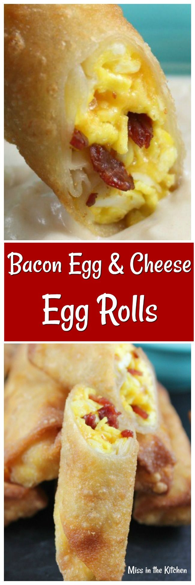 Bacon Egg and Cheese Egg Rolls are going to become your favorite hand-held breakfast treat! Make these crispy fried egg rolls filled with scrambled eggs, cheese and bacon for a delicious and filling breakfast. #breakfast #fried