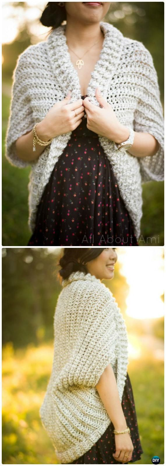 Crochet Easy Chunky Crochet Sweater Free Pattern - Crochet Women Sweater Coat-Cardigan Free Patterns