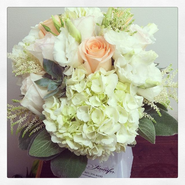 Bride's bouquet - hydrangeas, lisianthus, peach roses, garden roses, astilbe, succulents and lambs ear | Flickr - Photo Sharing!