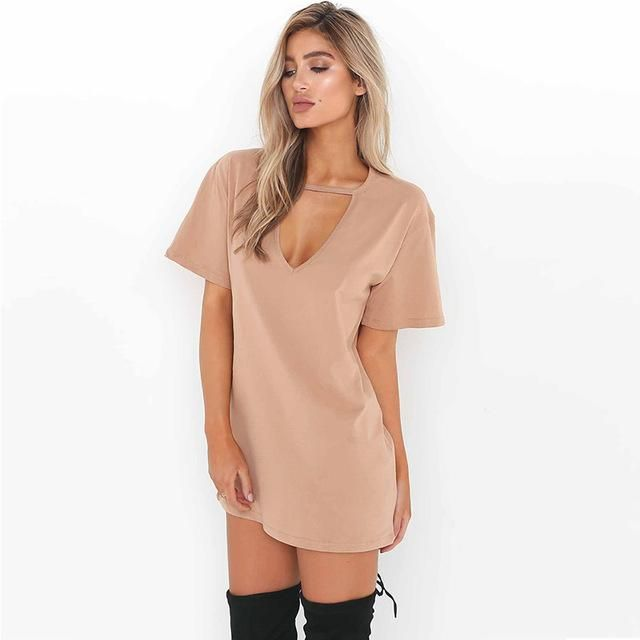 Summer Sexy Short Sleeve V-Neck Choker Mini Dress S-XL 4 Colors – Floessence