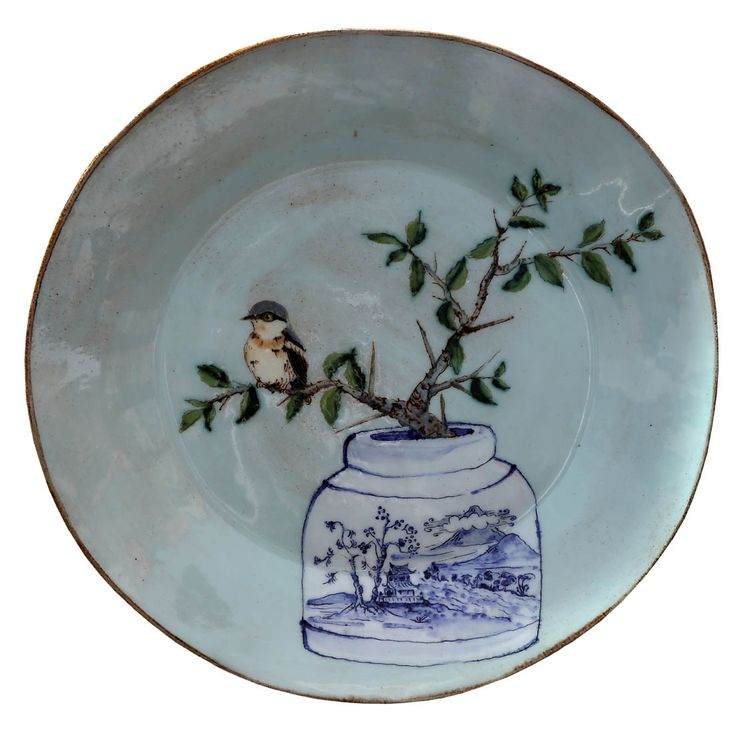 An original ceramic work by Lisa Ringwood entitled: 'Turquoise Batis and Thorny Pear branch platter', ceramic, d 35cm