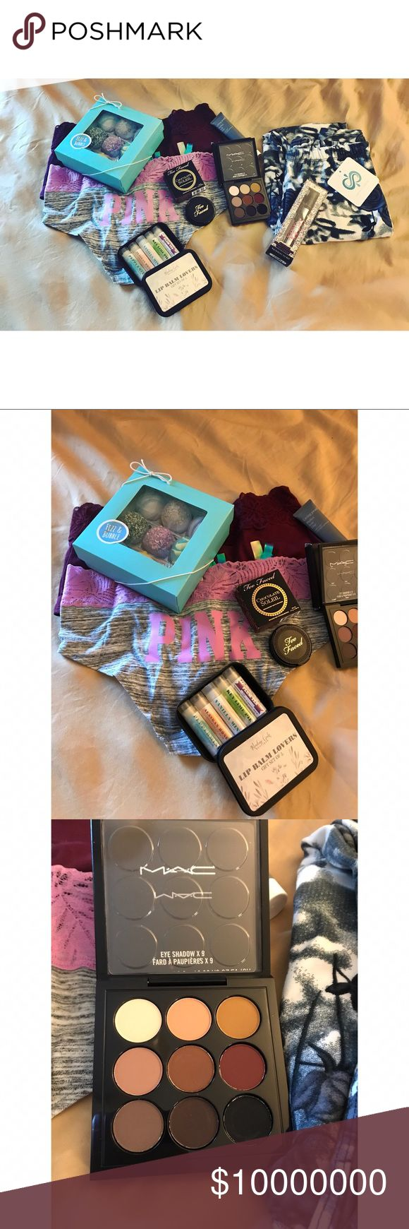 GIVE AWAY!!! Read details below 👇🏽 Another give away!!! How to enter!? MUST FOLLOW✅, SHARE THIS LISTING♻️, AND LIKE THIS LISTING❤️!!!! Don't forget to tag your friends! Winner receives 2 Large VS Undies, Fizz & Bath Truffle Bundle, Meadow Creek Lip Balm Set of 5, Too Faced Chocolate Soleil, Mac Semi Sweet Palette, Living Proof hair Day, VS Roller Ball, and 1 Floral Leggings from my boutique! Winner will be chosen by random generator and announced by May 14! Must enter by the 13th. I check…