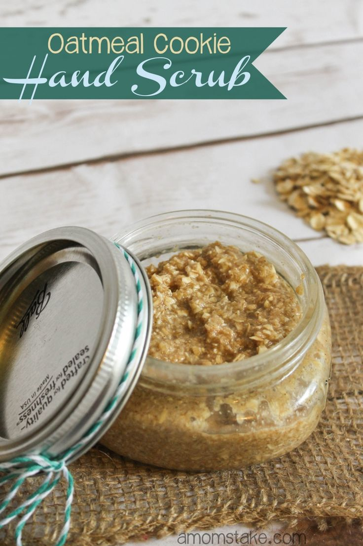 Easy homemade hand scrub using oatmeal! You will love the gentle scrubbing and the warm inviting scent with this oatmeal cookie hand scrub recipe!