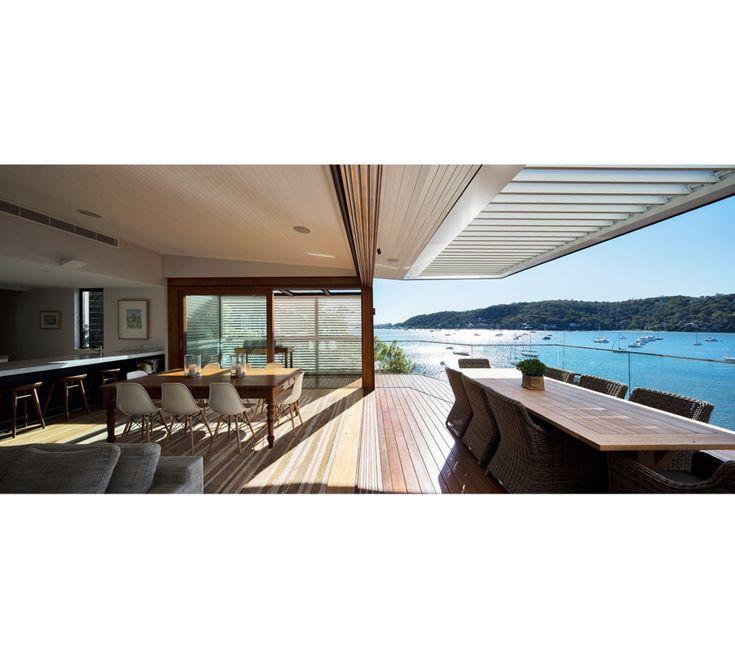 Avalon 01 - WATERSHED DESIGN Australian Hardwood timber sliding doors, Vergola operable louvre roof.