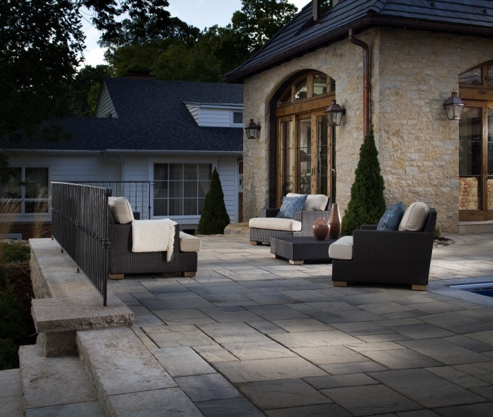 Large scale pavers create drama and make patios look larger. What do you think about this contemporary outdoor space with Belgard Lafitt Patio Slab?
