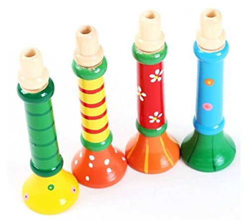 Malloom 1PC Multi-Color Baby kids Wooden Horn Hooter Trumpet Instruments Musi...