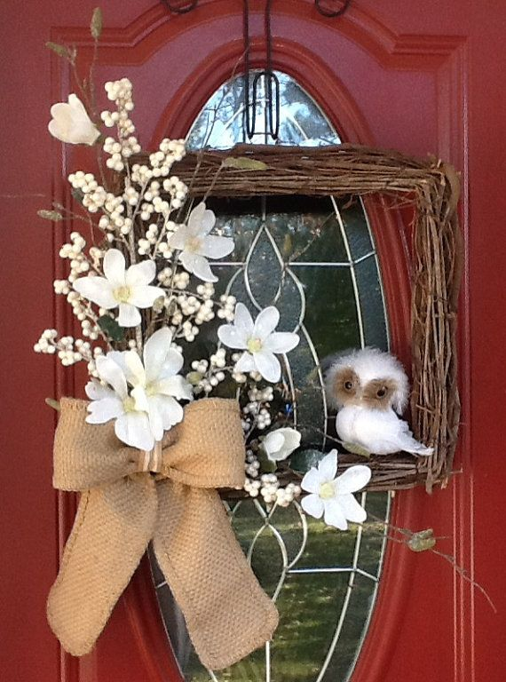 CLEARANCE PRICED! WAS $100....NOW $65!!! USE IT ALL WINTER LONG! This Gorgeous Rustic Winter wreath is an 18 Square Grapevine base adorned