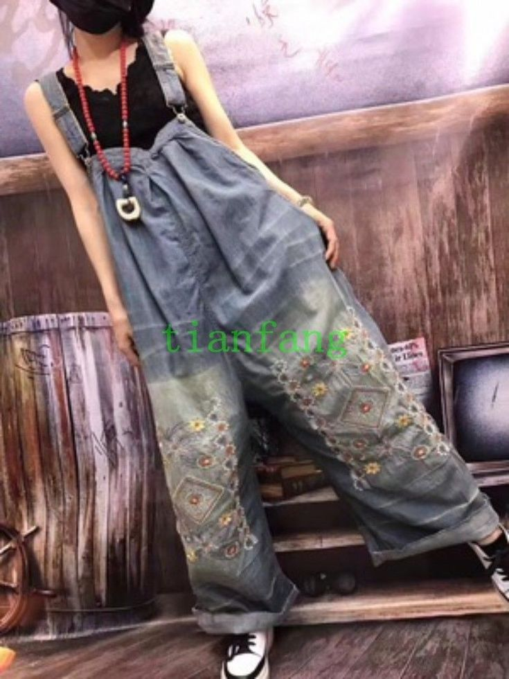 Jumpsuits Denim Floral Womens Loose Embroidery Overalls Washed Romper Pants Hot