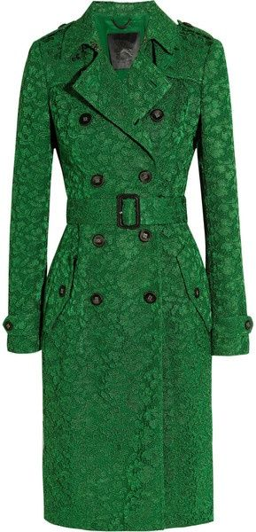 Burberry Prorsum Green Lace Trench Coat