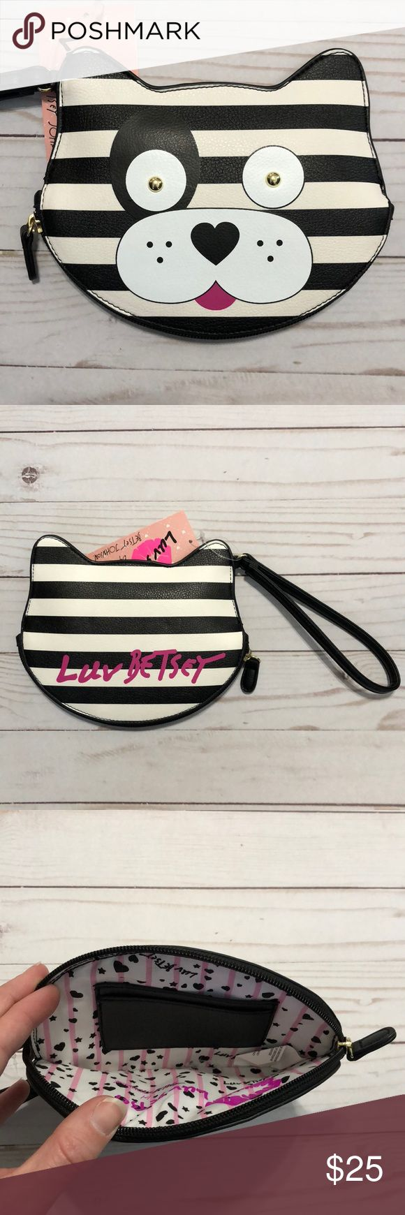 Betsey Johnson Coin Purse Adorable black and white striped dog face coin purse/wristlet. Gold eyes and a little pink tongue! Zipper closure with credit card/id slots on inside! So cute!! Betsey Johnson Bags Clutches & Wristlets