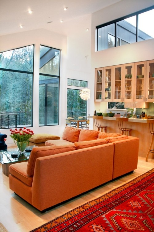 love it....: Modern Living Rooms, Pictures Window, Ideas, Orange Couch, Architects, Lights Fixtures, Orange Sofa, Clean Line, Contemporary Living Rooms
