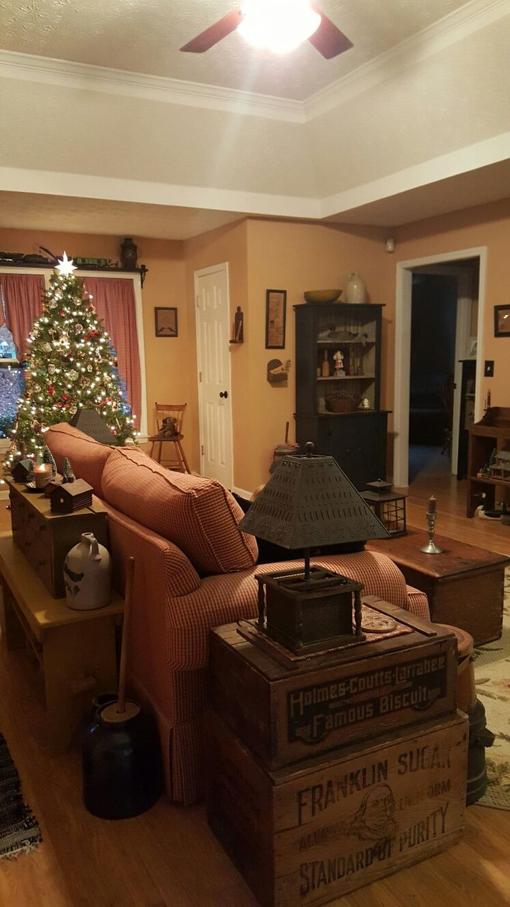 Amazing Country Style Living Room With Decorated Christmas Tree.