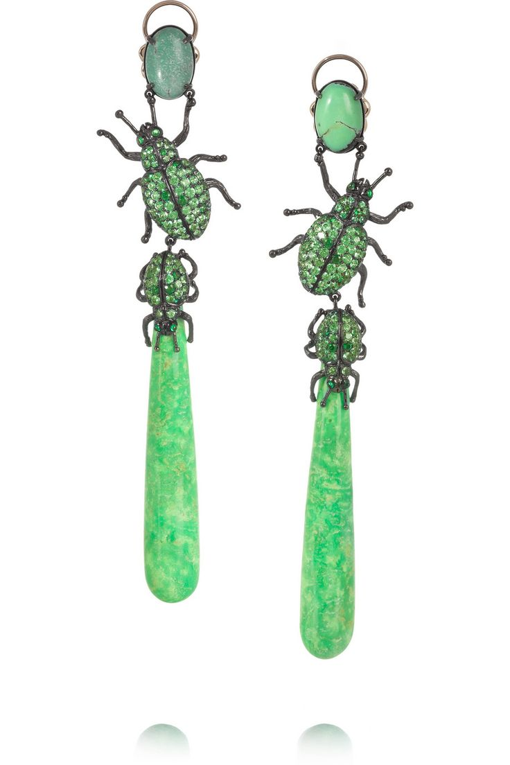 Lydia Courteille | 18-karat gold, turquoise and tsavorite drop earrings | NET-A-PORTER.COM