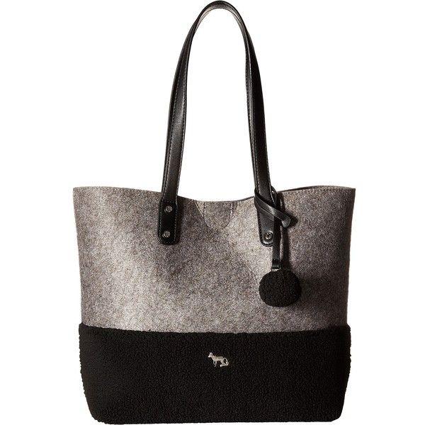 Emma Fox Caspian Felt Tote (Grey/Black) Tote Handbags ($40) ❤ liked on Polyvore featuring bags, handbags, tote bags, grey, gray purse, tote bag purse, grey tote bag, gray tote bag and grey tote