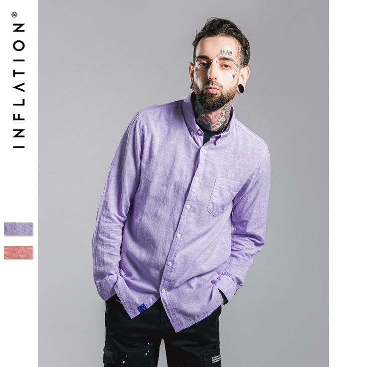 INFLATION 2016 New Arrival Linen Shirts Men Casual Shirt Mens Pure Color Slim Fit Cotton Long Sleeve Shirt Plus Size