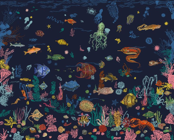 Sous la mer Wallpaper - / Panoramic - 8 widths Navy Blue by Domestic