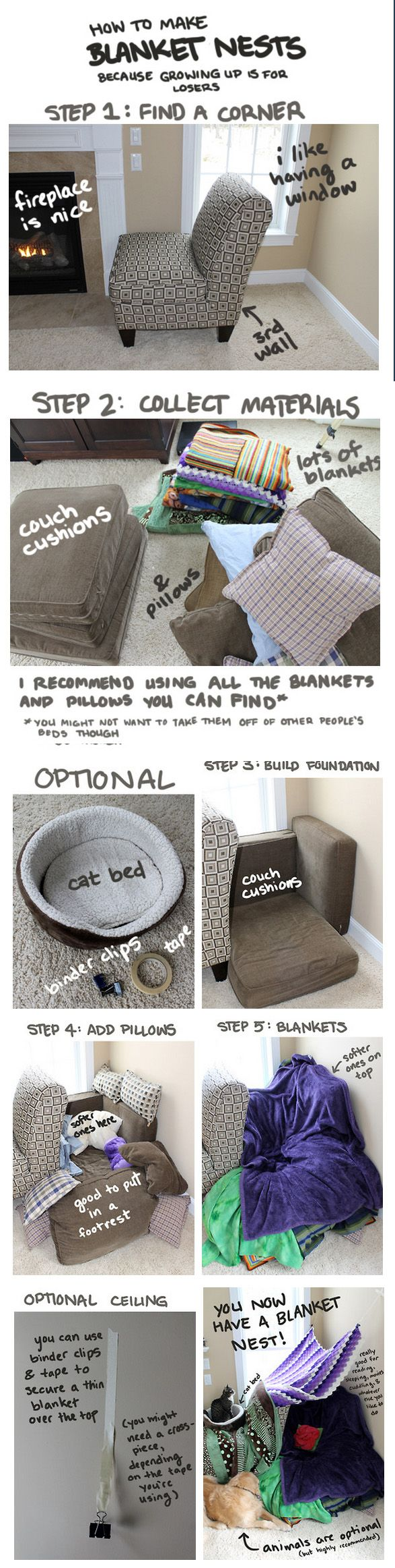 how to build a blanket nest... looks like a great idea