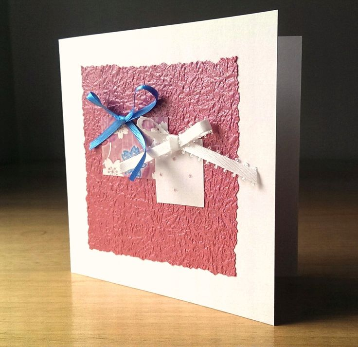 Handmade card, blank greeting card, blank note card, gorgeous gifts, pink card, ribbon, textured papers, individual cards by SilverpressShop on Etsy