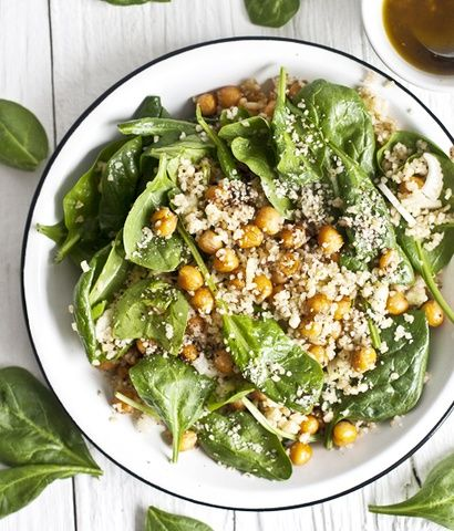 Spinach Salad with Bulgur, Roasted Chickpeas, and Hemp Recipe