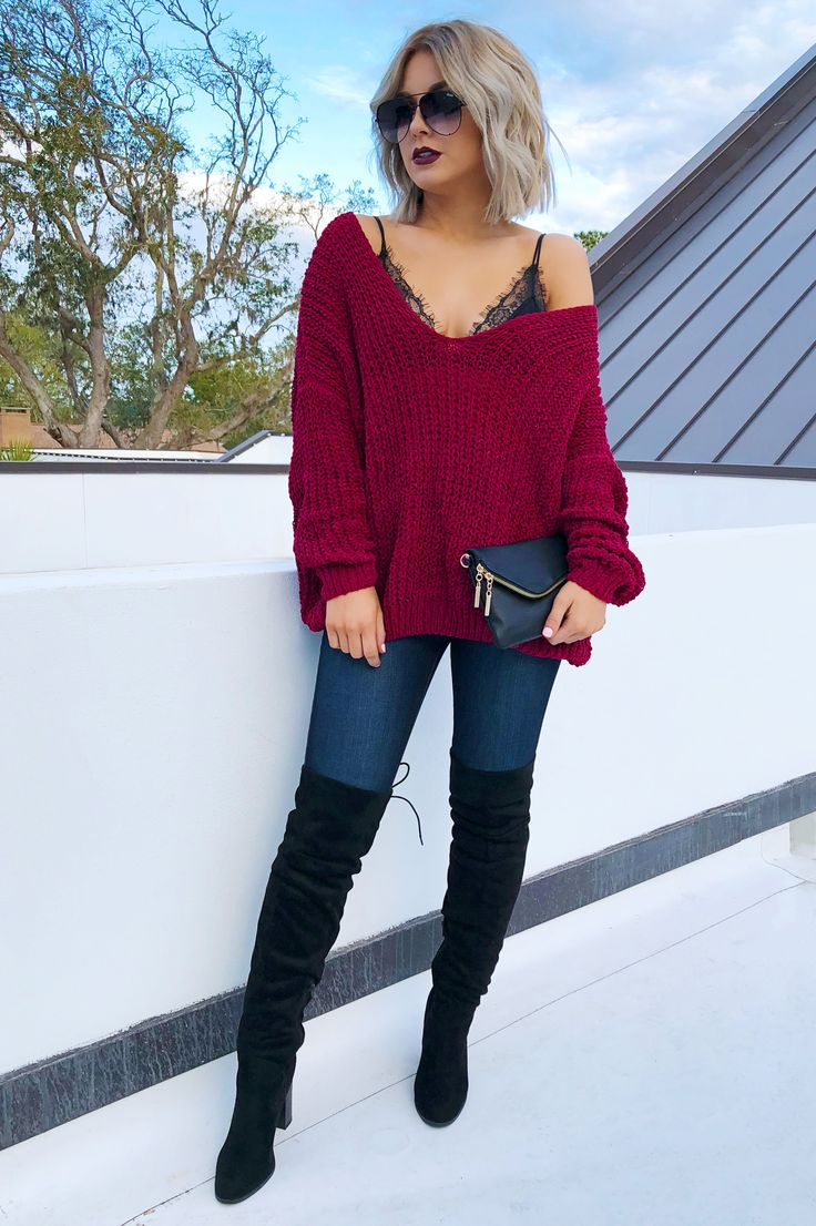 Part Of You Sweater: Burgundy