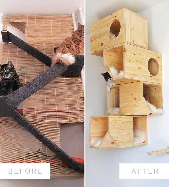 The Evolution of a Homemade Cat Tower || The before and after of the DIY cat bed project