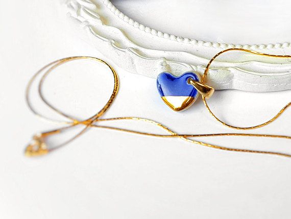 Blue heart necklace Small heart necklace Blue and gold heart