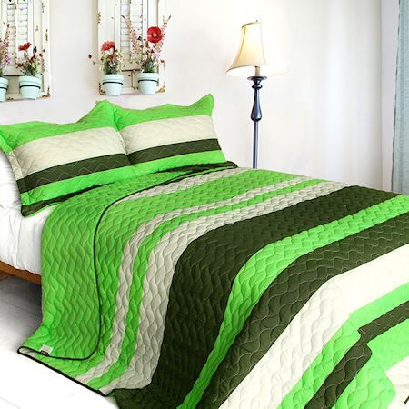 teen boy lime green and stripes bedding | found on kidsroomtreasures com