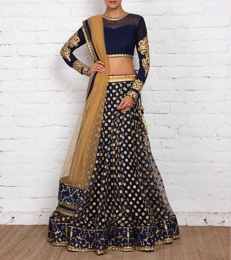 Blue and Golden Net & Art Silk Lehenga Set by Sanskriti